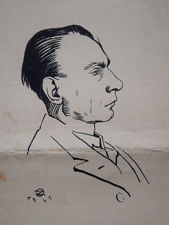 Autoportrét, který František nakreslil v roce 1941.