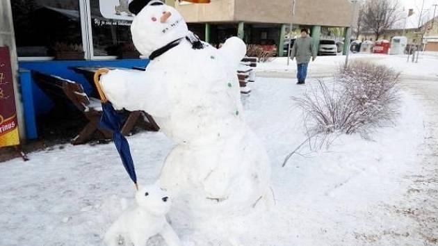 Výtvory ze sněhu v hradeckých Malšovicích.