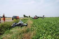 Havárie motocyklu u obce Lovčice.