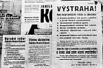 Plakátovací plocha s prvními vyhláškami Revolučního národního výboru.