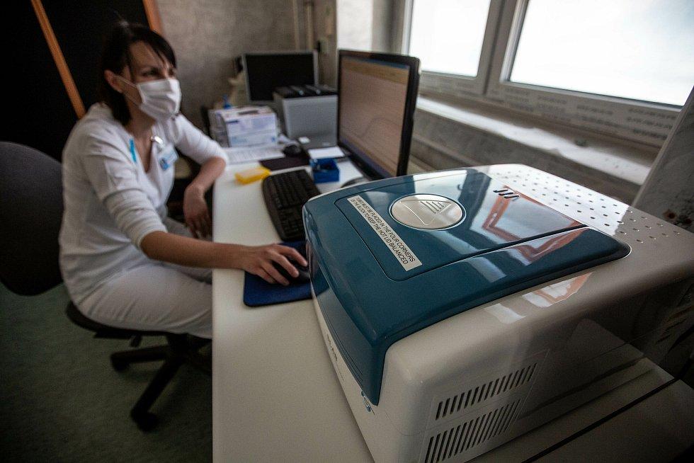 Laborantky v mikrobiologické laboratoři trutnovské nemocnice zkoumají přítomnost koronaviru v donesených vzorcích.