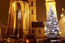 Rozsvícený vánoční strom na Velkém náměstí v Hradci Králové.