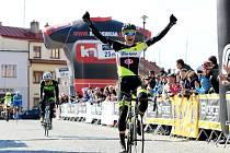 Cyklista Jiří Polnický na prvním místě v závodě Českého poháru Velká Bíteš – Brno – Velká Bíteš.