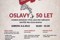 Plakát k příležitosti oslav 50 let TJ Slavia Hradec Králové