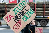 Demonstrace před Povodím Labe proti kácení stromů podél řeky Orlice v Hradci Králové.