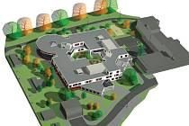 NOVÁ BUDOVA psychiatrické kliniky bude vybavena i atriem. Konečnou podobu objektu přibližuje vizualizace.