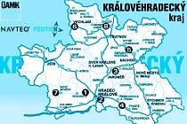 Mapa uzavírek v Královéhradeckém kraji.