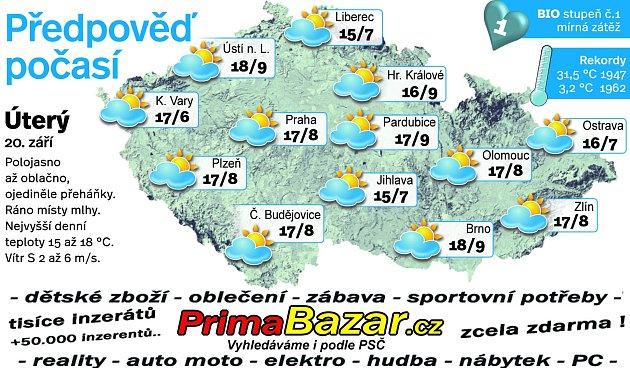 Předpověď počasí na úterý 20.září.
