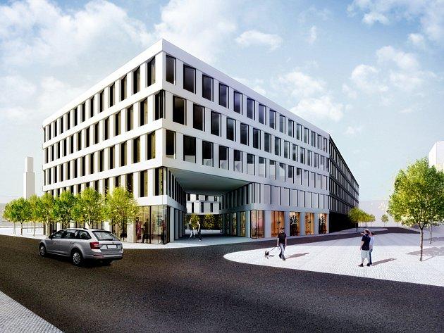 Vizualizace nového hotelu na místě Černigova u nádraží v Hradci Králové.