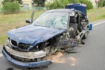 Dopravní nehoda čtyř automobilů u Třebechovic pod Orebem.