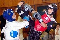 Karate ve sportovní hale ve Skalné