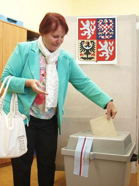 JAKO PRVNÍ dorazili do volební místnosti ve škole na chebském Zlatém vrchu  manželé Dagmar a Jaromír Drášilovi.