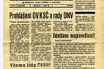Mimořádné vydání chebské Hraničáře a Roháčku z 21. srpna 1968 - titulní strana