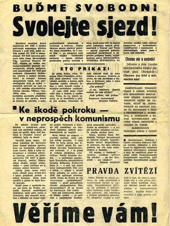 Mimořádné vydání chebské Hraničáře a Roháčku z 21. srpna 1968 - druhá strana