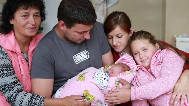 ANNABELL SUCHÁČKOVÁ si poprvé prohlédla svět ve středu 20. září v 9.04 hodin. Při narození vážila 3 200 gramů. Doma v Hranicích se z malé Annabellky těší sestřička Sabina spolu s maminkou Ivetou a tatínkem Miroslavem.