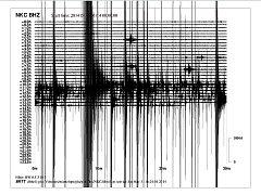Seismograf z otřesů ze dne 31. 5. 2014.