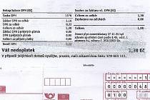 Faktura za plyn na minimální částku