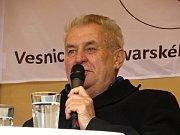Prezident České republiky Miloš Zeman navštívil obec Krásná na Chebsku.