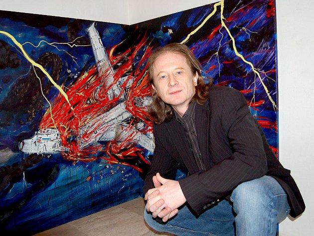 O TAKZVANÉM ROZHÝBÁNÍ EXPOZIC hovořil ředitel galerie také před obrazem Václava Girsy v malé galerii.