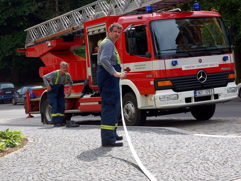 Cvičení mariánskolázeňských hasičů v hotelu Grand Spa Hotel Marienbad