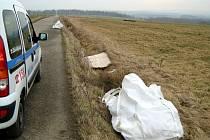Místo nálezu odpadu z Německa u silnice mezi Podhradem a Háji