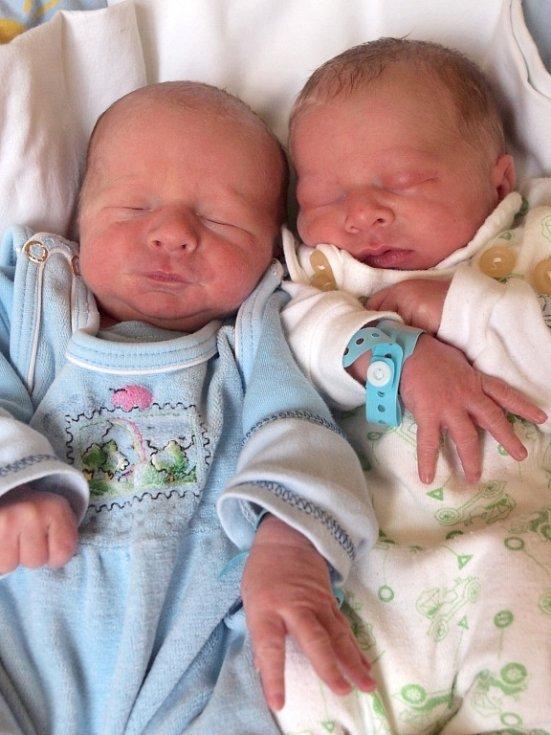 MAREK A FILIP VOJTKOVI se narodili v úterý 18. prosince. Mareček ve 12.55 hodin, vážil 2 290 gramů a měřil 47 centimetrů. Filípek Ve 12.56 hodin, vážil 2 470 gramů a měřil 46 centimetrů. Maminka Jana a tatínek Daniel se radují z chlapečků doma v Aši.