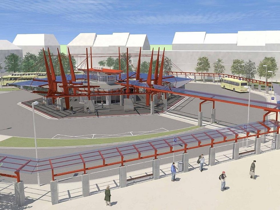 Autobusový terminál na chebském nádraží.