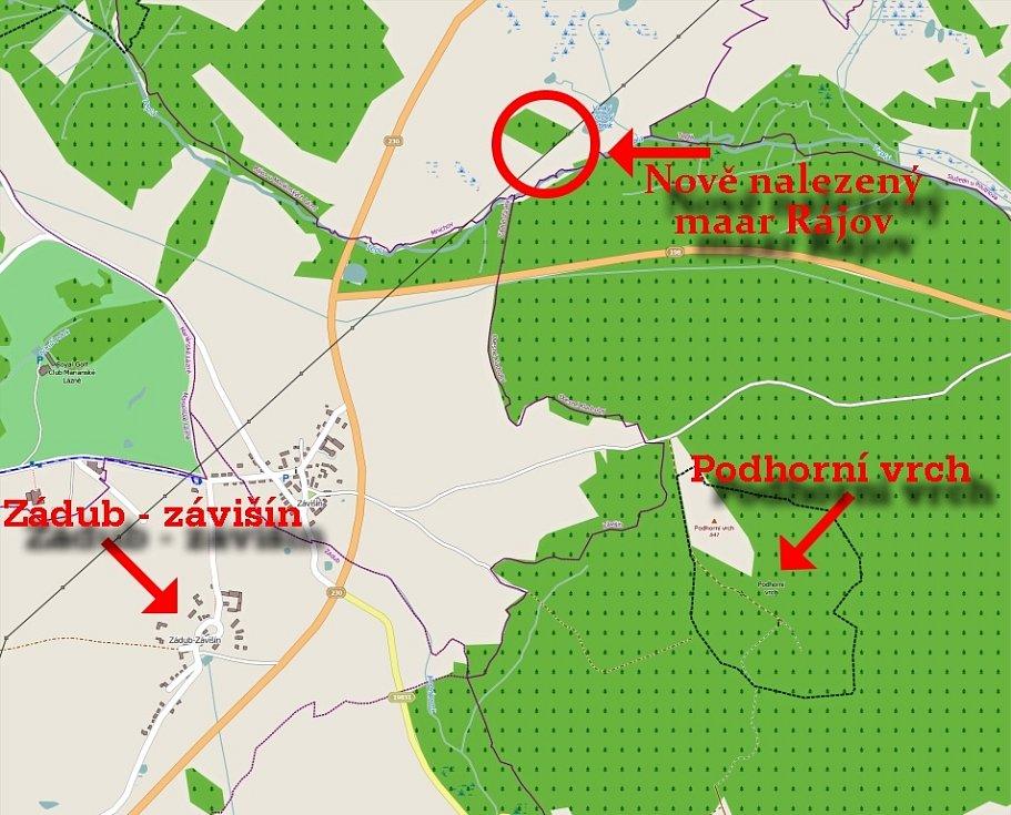 Mapa se zakreslením nově nalezené sopky.