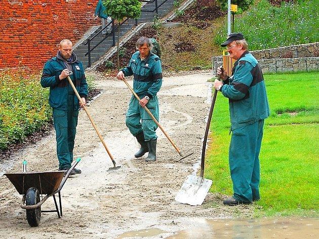 Pracovníci chartitní ubytovny Betlém uklízejí areál bývalé krajinné výstavy k plné spokojenosti chebské radnice