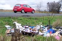 PŘÍKOPY u silnic na Chebsku se pomalu a jistě začínají měnit na skládky.