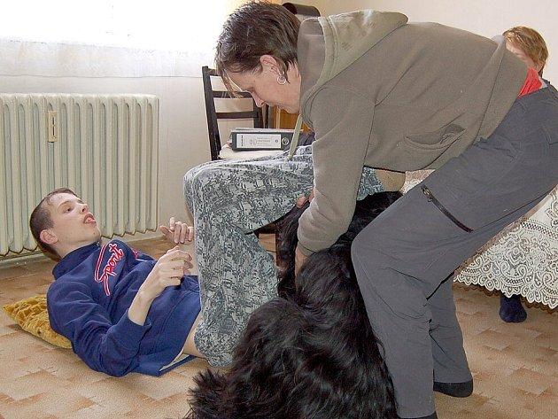 JACK RADIMOVI PROSPÍVÁ. Ročního briarda Jacka připravuje Jindřiška Longaverová na canisterapeutické zkoušky. Jejímu postiženému synovi Radimovi pes velmi pomáhá.