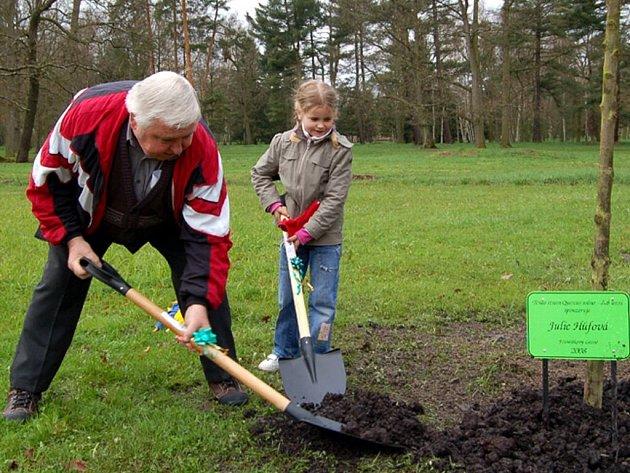 Sázení nových stromků ve sponzorském sadu ve Františkových Lázních
