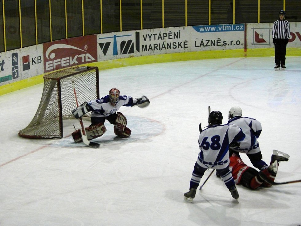 Hokejový turnaj žáků šestých tříd v Mariánských Lázních - utkání Teplice Nymburk
