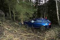 Muž, který se svým autem skončil ve stromě, musel být záchranáři převezen do nemocnice.
