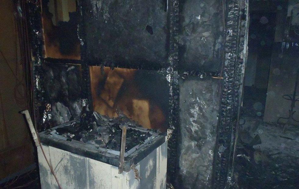 Požár sauny v hotelu.