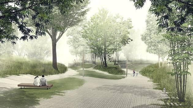 Vizualizace revitalizace Parku historie v Aši.