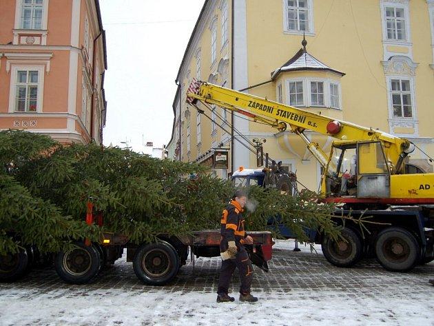 Příjezd a stavění vánočního stromu na chebském náměstí Krále Jiřího z Poděbrad