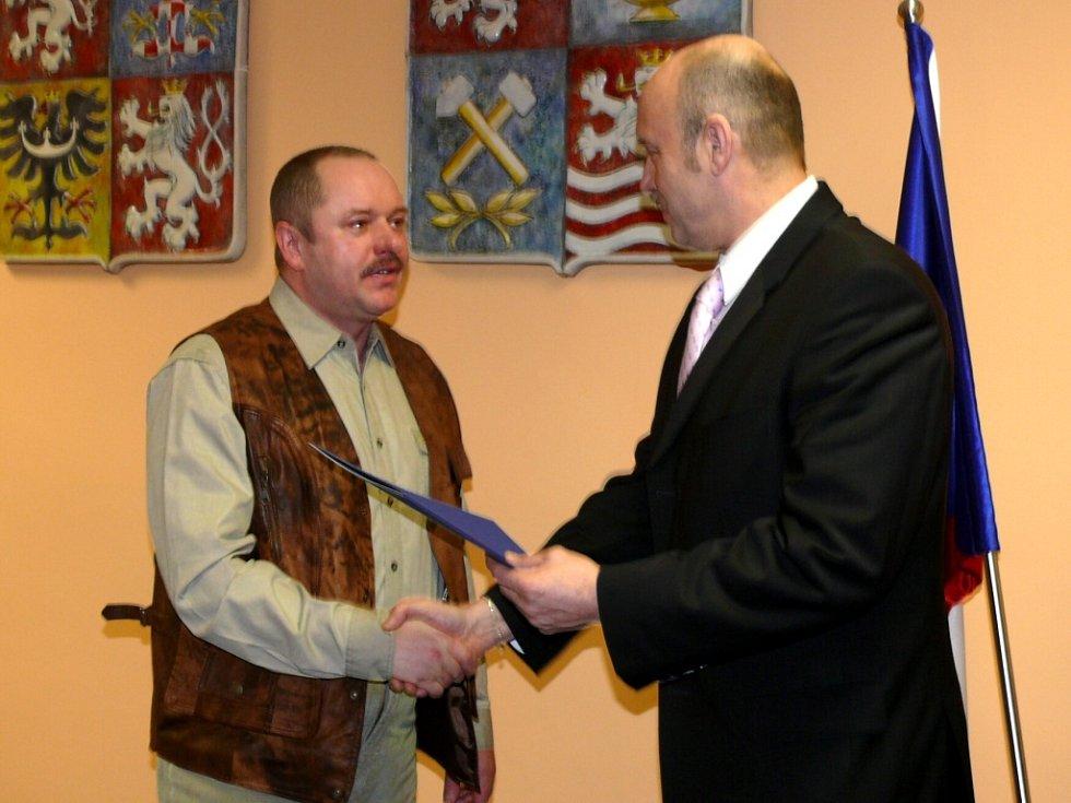Miroslav pelant z Bochova při přebírání ocenění