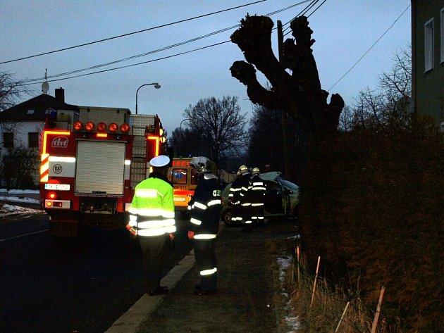 Dopravní nehoda, ke které došlo ve čtvrtek 29. ledna rán ve Františkových Lázních  - Slatině
