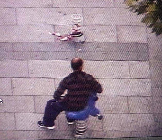 Kamery městské policie zachytily, že nejen děti si hrají na nových houpačkách na pěší zóně.