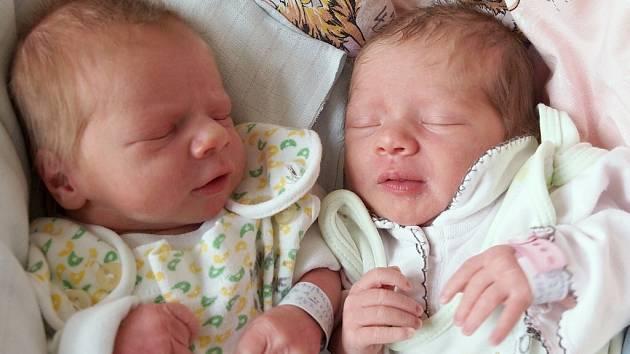 ADÉLA A JAKUB VOJÁKOVI se narodili ve středu 28. ledna v 10.10 a 10.11 hodin. Adéla vážila 2 650 gramů a měřila 45 centimetrů. Jakoubek vážil 2 470 gramů a měřil 46 centimetrů. Maminka Laďka a tatínek Martin se těší z miminek doma v Aši.