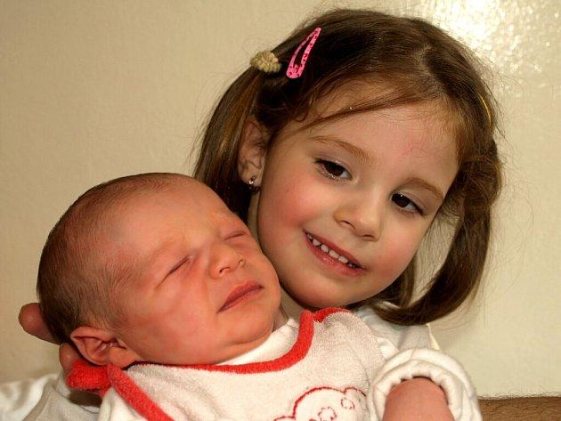 VÍTEK HUML přišel na svět ve středu 25. března v 18.05 hodin. Při narození vážil 3200 gramů a měřil 50 centimetrů. Tatínek Pavel a tříletá Natálka se těší, až budou mít doma v Aši maminku Blanku a malého Vítka.