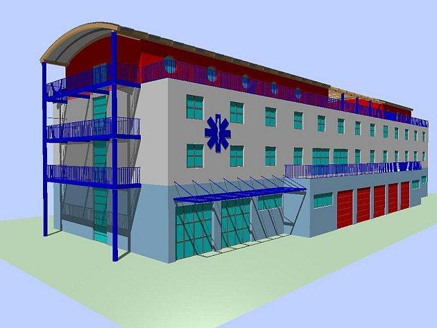 NOVÉ SÍDLO ZÁCHRANÁŘŮ bude mít podle návrhu velmi moderní podobu. Karlovarský kraj by chtěl začít stavět v březnu roku 2011.