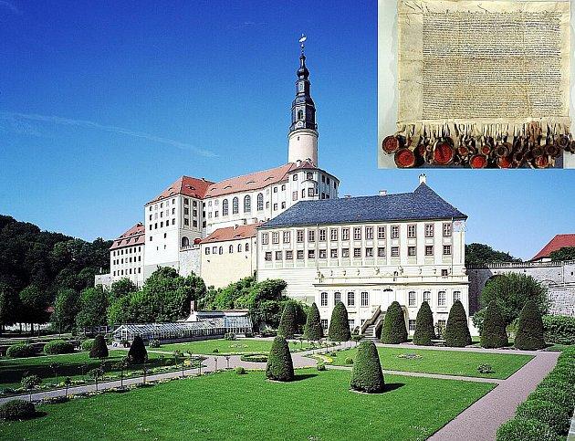 Zámek v Sasku láká na výstavu mírové smlouvy podepsané v Chebu.