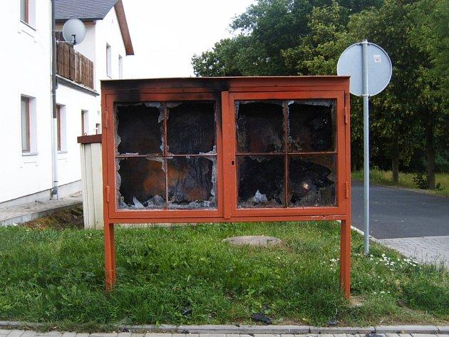 Vývěska KSČM v lázních se opět stala terčem vandala.