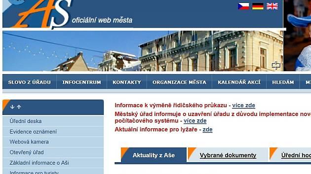 Webové stránky města Aše.