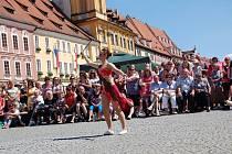 LIDÉ PŘI OSLAVÁCH vstupu do EU tleskali také Dominice Jílkové vicemistryni Evropy a mistryni Čech v sóle s hůlkou z Tanečního studia Magic Star Cheb.