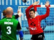 Házenkáři Talentu Plzeň (v modré) slaví. Ve finále Českého poháru porazili Karvinou.