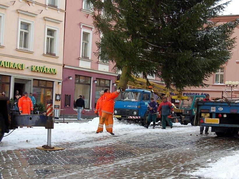 Usazování stromu v horní části náměstí