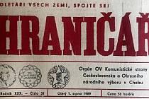 Chebský Hraničář z 1. srpna 1989
